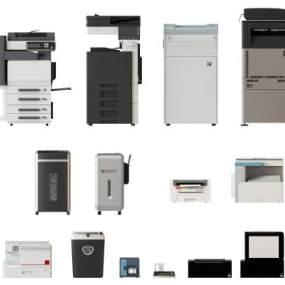 现代复印机打印机组合 3D模型【ID:440591504】