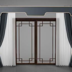 新中式风格窗帘3D模型【ID:244142642】