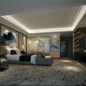 新中式酒店客房 3D模型【ID:742294331】
