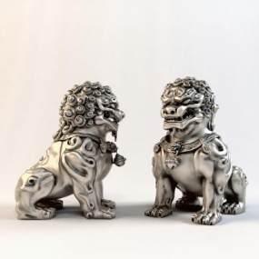 现代金属狮子3D模型【ID:333436130】