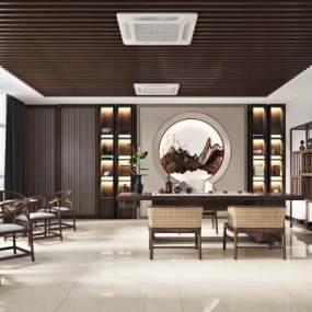 新中式茶室3D模型【ID:645625193】
