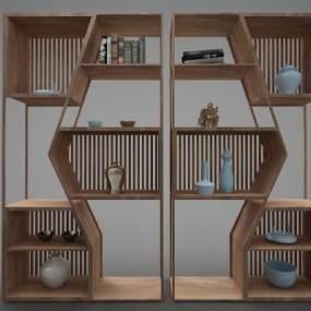 新中式风格书柜3D模型【ID:144458548】