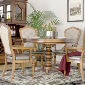 美式风格餐厅3D模型【ID:536223179】