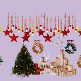 圣诞陈设摆件圣诞树挂饰礼物花环 3D模型【ID:241753532】