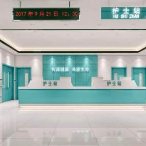 医院护士站走廊空间 3D模型【ID:941965722】