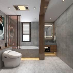 现代浴室卫生间3D模型【ID:534822558】