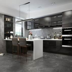 现代风格开放式厨房3D模型【ID:536060301】