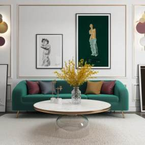 现代轻奢沙发茶几组合装饰画壁灯3D模型【ID:643712715】