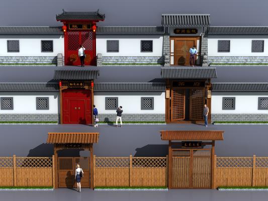 中式古建大门围墙入口3D模型【ID:141026932】