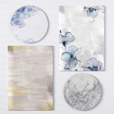 新中式绒毛地毯暗纹地毯圆地毯3D模型【ID:330591295】
