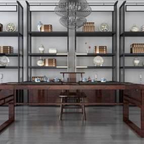 新中式书架桌椅组合3D模型【ID:935846033】