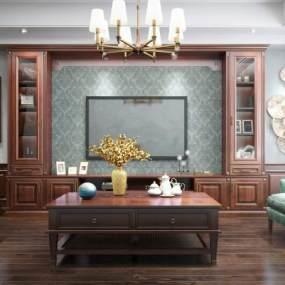 美式客厅电视柜3D模型【ID:933501939】