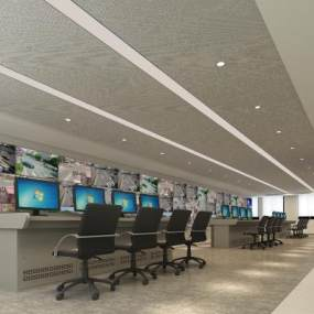 現代監控室安防中心3D模型【ID:946535105】