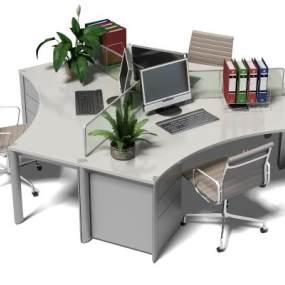 现代办公桌3D模型【ID:932469121】