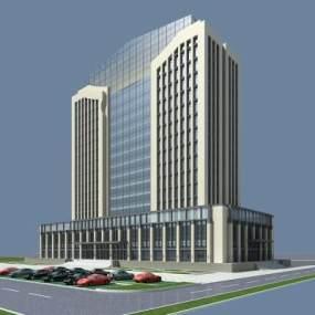 现代综合楼办公楼服务楼3D模型【ID:132213912】