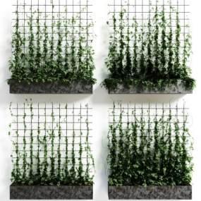 现代绿植墙装饰3D模型【ID:231925884】