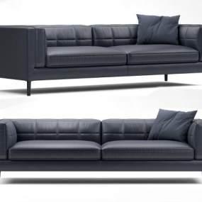 现代皮革双人沙发3D模型【ID:636089518】