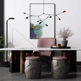 现代书桌椅组合3D模型【ID:949844015】