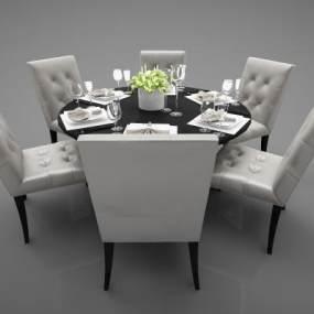 欧式风格餐桌3D模型【ID:845662891】