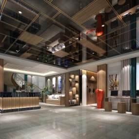 新中式洗浴城大厅3D模型【ID:135754249】