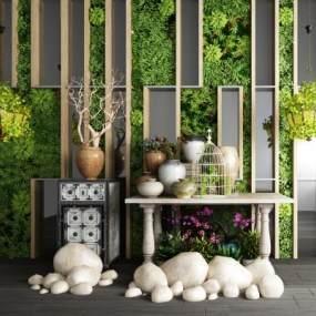 现代植物墙植物盆栽园林小品石头组合 3D模型【ID:640627288】
