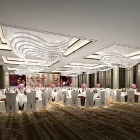 新中式酒店多功能宴会厅3D模型【ID:753346283】