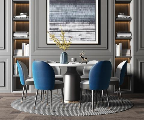 現代輕奢餐桌椅3D模型【ID:734820146】