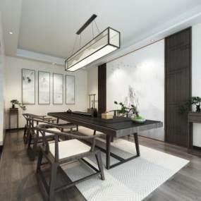 新中式茶室装饰画吊灯地毯绿植 3D模型【ID:642068125】