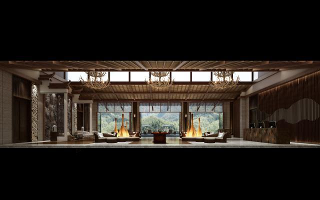 新中式酒店大堂3D模型【ID:753222068】