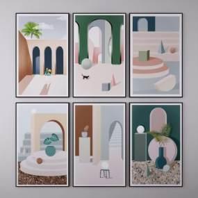 北欧建筑风景挂画3D模型【ID:252560918】