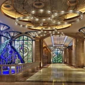 现代酒店过道3D模型【ID:734542489】