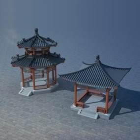 中式亭子3D模型【ID:143334402】