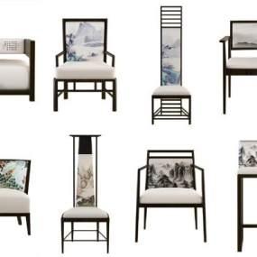 新中式椅子3D模型【ID:730655758】