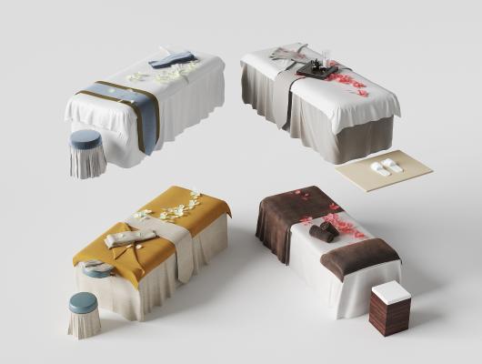 现代SPA按摩床美容床组合3D模型【ID:932128013】