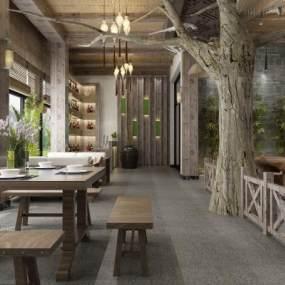 新中式餐厅3D模型【ID:634776270】