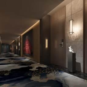 现代酒店走廊过道 3D模型【ID:736066477】