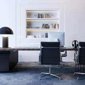 现代办公电脑桌椅3D模型【ID:942184163】