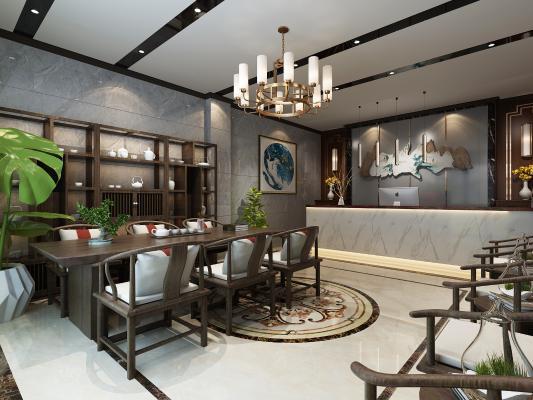 新中式茶楼大厅3D模型【ID:633971616】