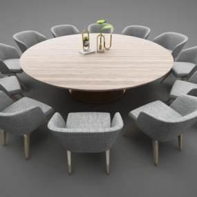 現代風格餐桌3D模型【ID:848216802】