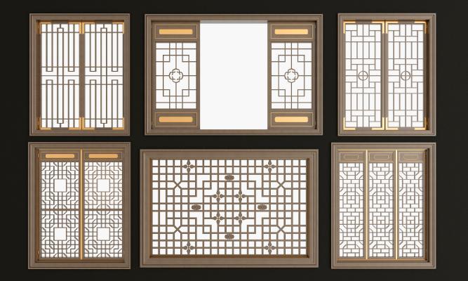 新中式實木花格鏤花窗組合3D模型【ID:331297293】