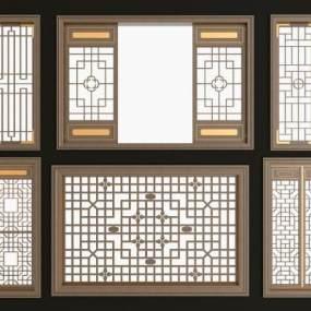 新中式实木花格镂花窗组合3D模型【ID:331297293】