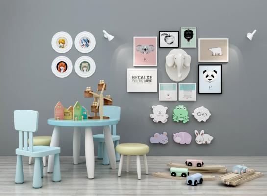 现代儿童桌椅3D模型【ID:936087379】