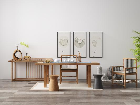 新中式茶桌椅组合3D模型【ID:853151987】