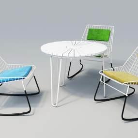现代户外休闲桌椅3D模型【ID:732138579】