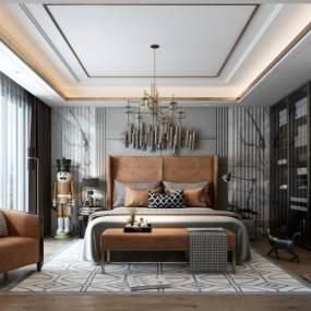 现代卧室3D模型【ID:545451221】