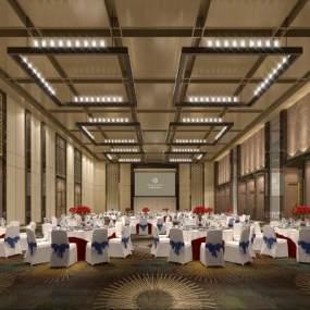 新中式酒店宴会厅3D模型【ID:734472286】