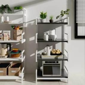 现代厨房家居多用置物架3D模型【ID:142536169】