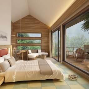 新中式�民宿客房3D模型【ID:743355380】