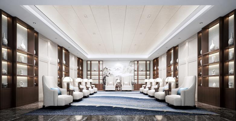 现代酒店贵宾会客厅3D模型【ID:745850572】