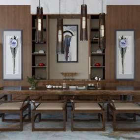新中式桌椅3D模型【ID:735848752】